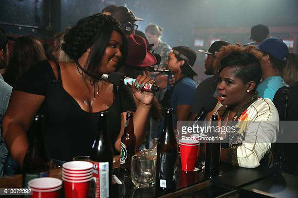 Host Lizzo and rapper BreZ attend MTV's 'Wonderland' LIVE Show on October 6 2016 in Los Angeles California