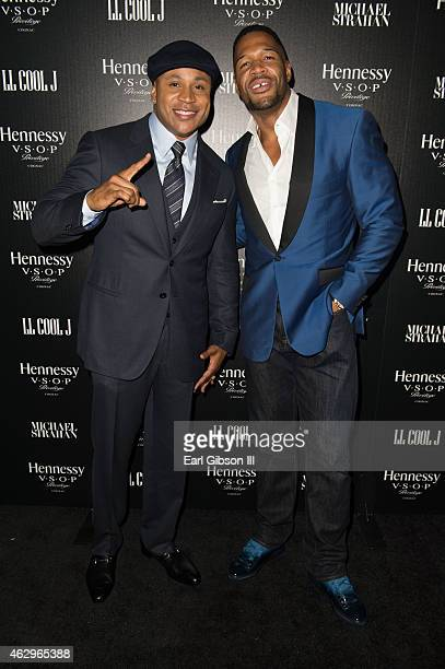 Host LL Cool J and Michael Strahan attend the Hennessy Toasts Achievements In Music Event on February 7 2015 in Los Angeles California