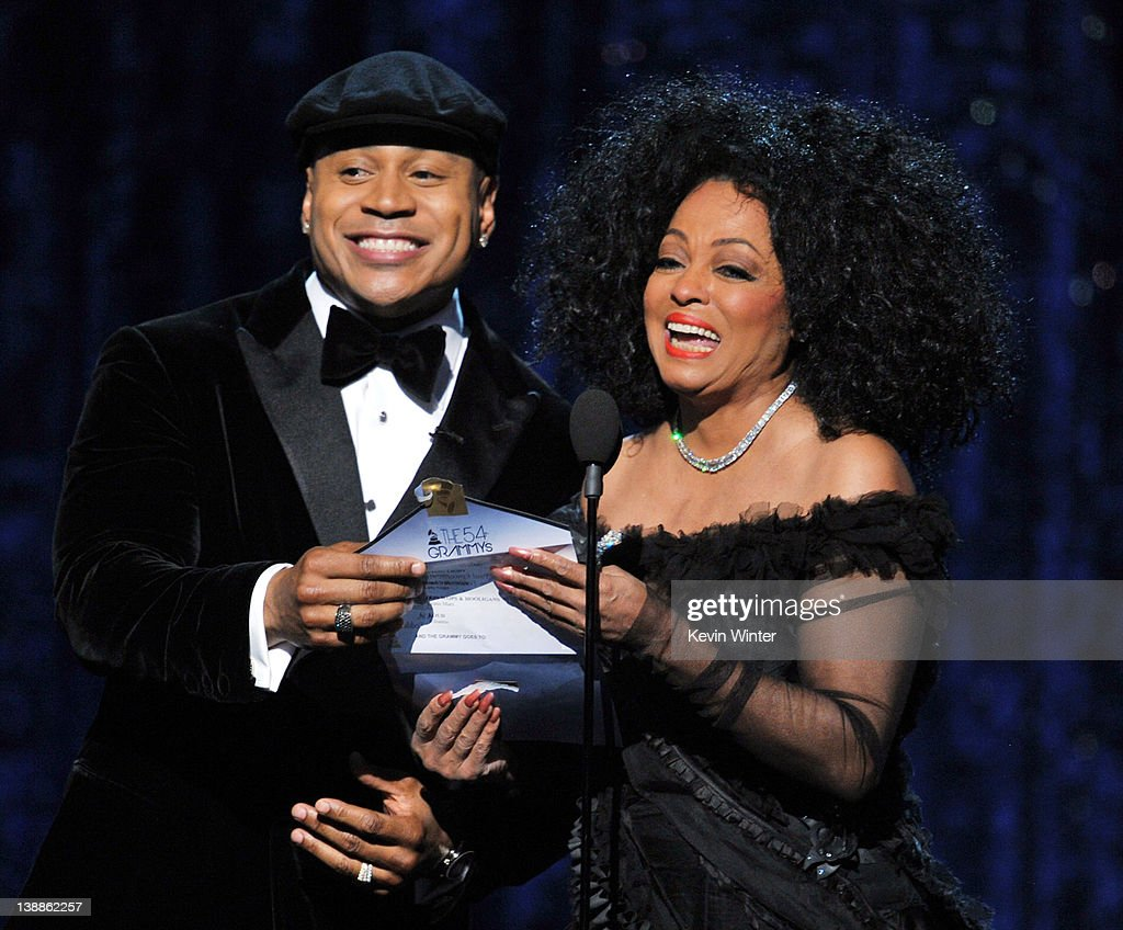 Host LL Cool J (L) and singer Diana Ross speak onstage at the 54th Annual GRAMMY Awards held at Staples Center on February 12, 2012 in Los Angeles, California.