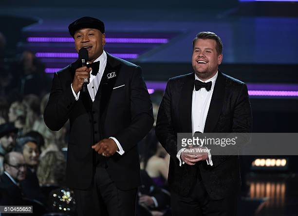 Host LL Cool J and TV personality James Corden speak onstage during The 58th GRAMMY Awards at Staples Center on February 15 2016 in Los Angeles...