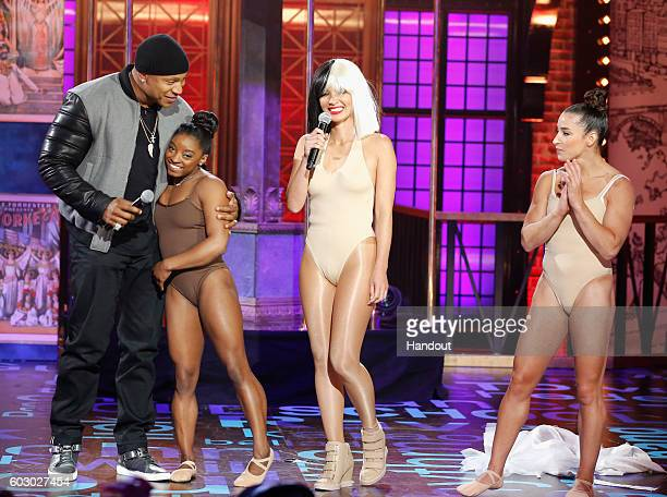Host LL Cool J Simone Biles Olivia Munn and Aly Raisman perform onstage during Spike TV's Lip Sync Battle All Stars Live on September 11 2016 in...