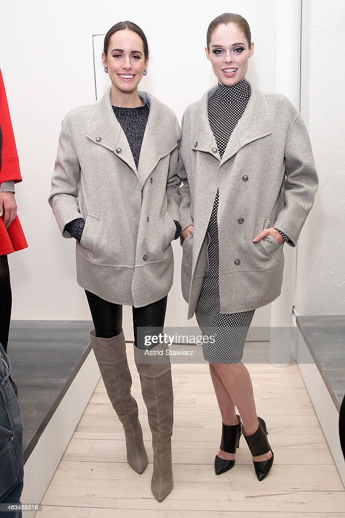 Host Louise Roe and model Coco Rocha pose at the Banana Republic presentation with TRESemme during MercedesBenz Fashion Week Fall 2015 on February 14...