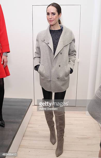 Host Louise Roe poses at the Banana Republic presentation with TRESemme during MercedesBenz Fashion Week Fall 2015 on February 14 2015 in New York...