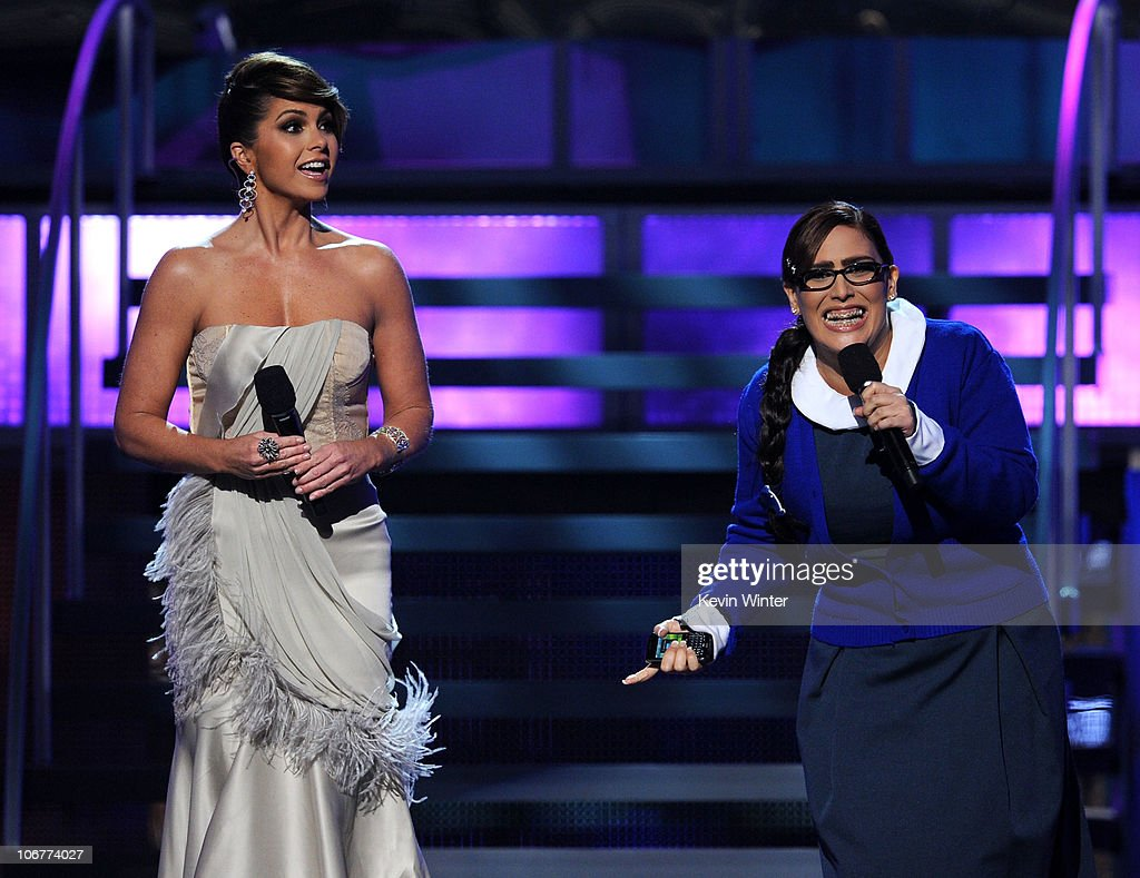 Host Lucero (L) and actress Angelica Vale onstage during the 11th annual Latin GRAMMY Awards at the Mandalay Bay Events Center on November 11, 2010 in Las Vegas, Nevada.