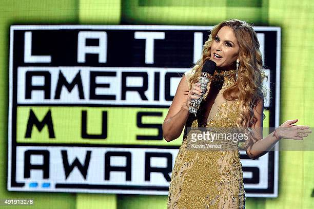 Host Lucero speaks onstage during Telemundo's Latin American Music Awards at the Dolby Theatre on October 8 2015 in Hollywood California