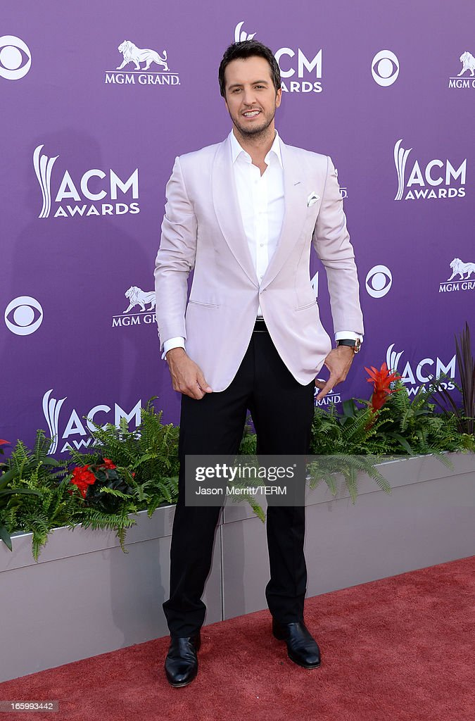 Host Luke Bryan arrives at the 48th Annual Academy of Country Music Awards at the MGM Grand Garden Arena on April 7, 2013 in Las Vegas, Nevada.