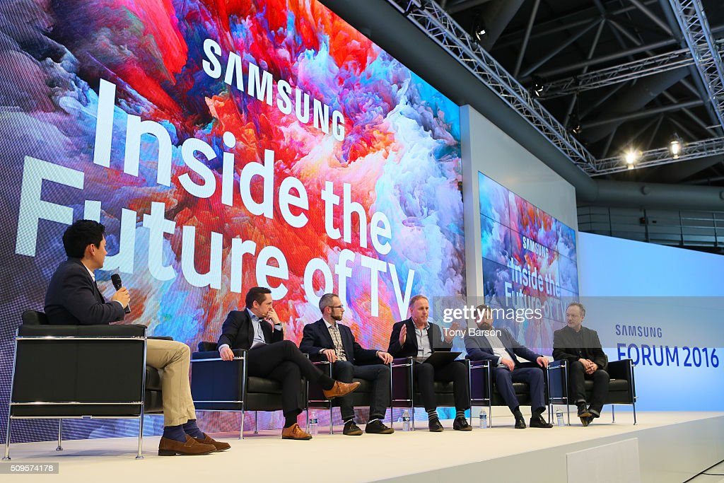 Host Marc Edwards (BBC World, Eurosport) and Simon Bryant (Futuresource), Martin Lindell (EA), Simon Mills (Wallpaper* UK), Grzegorz Stanisz (Samsung) and Tim Webber (Framestore) attend Samsung: Inside The Future Of Television Panel at the Grimaldi Forum on February 11, 2016 in Monte-Carlo, Monaco.