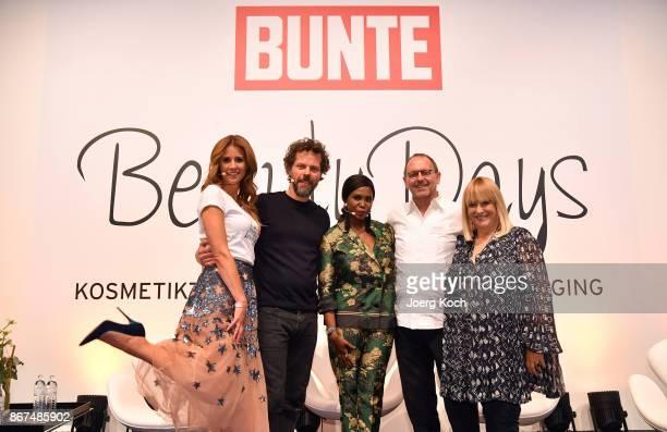 Host Mareile Hoeppner photographer Oliver Beckmann dancer Motsi Mabuse makeup artist Horst Kirchberger and host Patricia Riekel attend the Bunte...