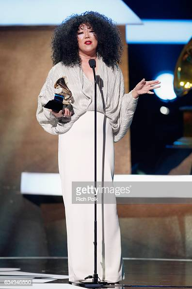 Host Marget Cho speaks onstage at the Premiere Ceremony during the 59th GRAMMY Awards at Microsoft Theater on February 12 2017 in Los Angeles...