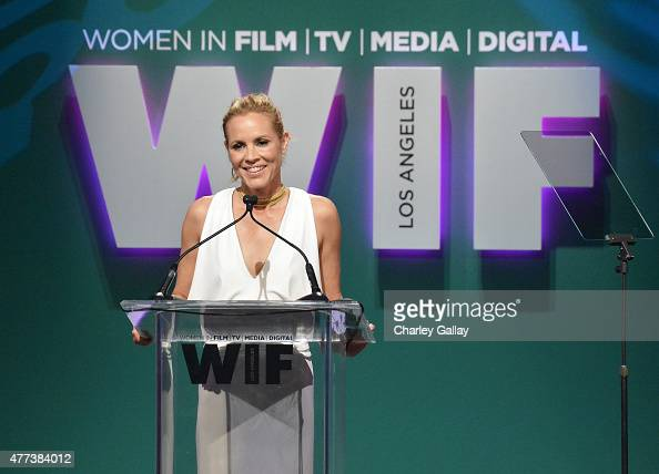 Host Maria Bello speaks onstage during the Women In Film 2015 Crystal Lucy Awards Presented by Max Mara BMW of North America and Tiffany Co at the...