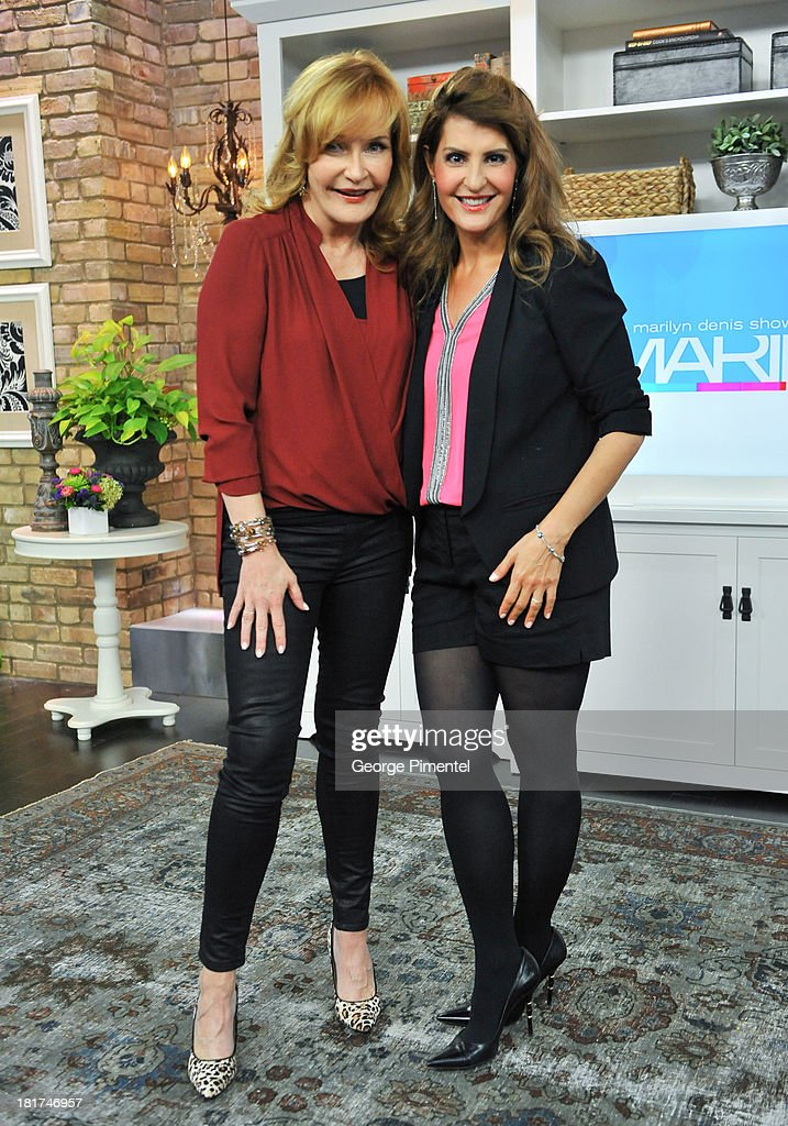 Host Marilyn Denis and Greek Canadian actress Nia Vardalos appear live on the Marilyn Denis Show at Bell Media Headquarters on September 24, 2013 in Toronto, Canada.