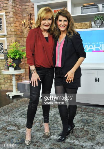 Host Marilyn Denis and Greek Canadian actress Nia Vardalos appear live on the Marilyn Denis Show at Bell Media Headquarters on September 24 2013 in...
