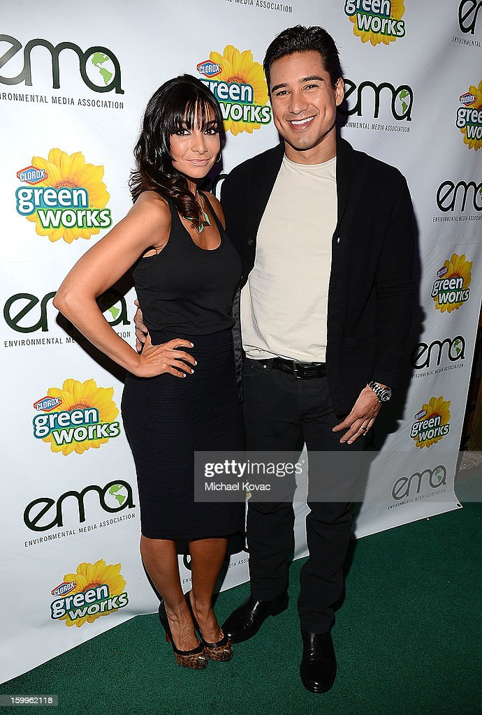 TV host Mario Lopez (R) and Courtney Mazza attend Celebrities and the EMA Help Green Works Launch New Campaign at Sur Restaurant on January 23, 2013 in Los Angeles, California.