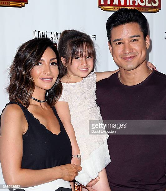 TV host Mario Lopez wife Courtney Mazza and daughter Gia Francesca Lopez attend the opening of '42nd Street' at the Pantages Theatre on May 31 2016...