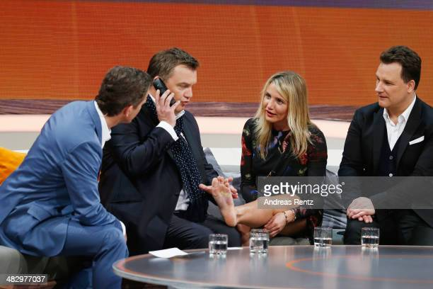 TV host Markus Lanz Hape Kerkeling Cameron Diaz and Guido Maria Kretschmer talk on stage during the 'Wetten dass' tv show on April 5 2014 in...