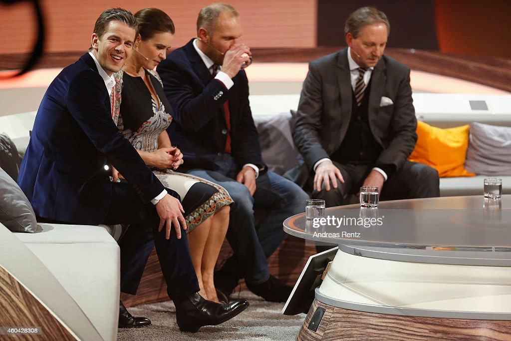 TV host Markus Lanz Katarina Witt Hermann Maier and Olli Dittrich are seen at the last broadcast of the Wetten dass tv show on December 13 2014 in...
