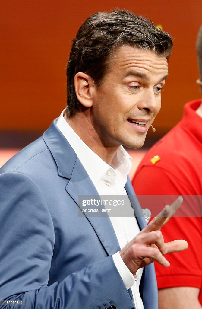 TV host <a gi-track='captionPersonalityLinkClicked' href=/galleries/search?phrase=Markus+Lanz&family=editorial&specificpeople=2080192 ng-click='$event.stopPropagation()'>Markus Lanz</a> reacts after the 'Wetten, dass..?' tv show on April 5, 2014 in Offenburg, Germany.
