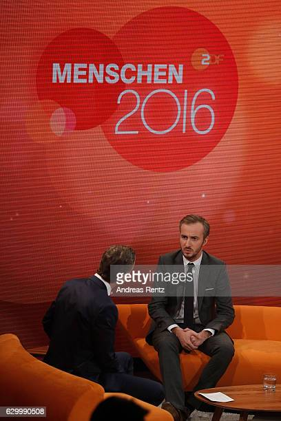 TV host Markus Lanz speaks with Jan Boehmermann during 'Menschen 2016' ZDF Jahresrueckblick on December 15 2016 in Hamburg Germany