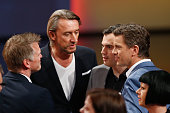 TV host Markus Lanz speaks with ZDF program director Norbert Himmler and other team members after the 'Wetten dass' tv show on April 5 2014 in...