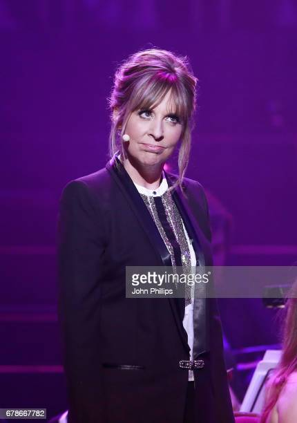 Host Mel Giedroyc on stage during 'Magic at the Musicals' at The Royal Albert Hall on May 4 2017 in London United Kingdom