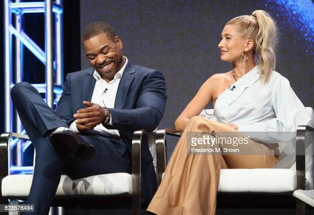Host Method Man and host Hailey Baldwin of 'TBS Drop the Mic' speak onstage during the Turner Networks portion of the 2017 Summer Television Critics...