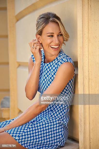 TV host Mia Ceran of TV show Uno mattina Estate sitting with a smile for a photoshooting Rome 5th August 2015