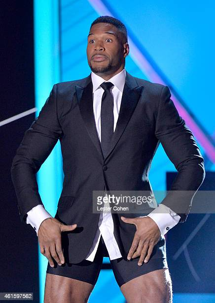 Host Michael Strahan speaks onstage during the 20th annual Critics' Choice Movie Awards at the Hollywood Palladium on January 15 2015 in Los Angeles...
