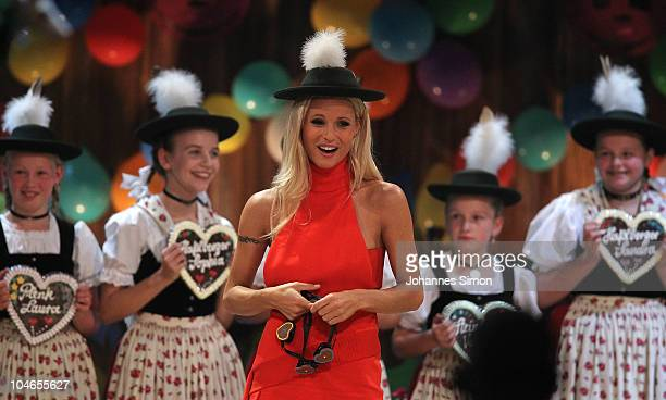 TV host Michelle Hunziker attends the 190th 'Wetten dass ' show at Olympiahalle on October 2 2010 in Munich Germany