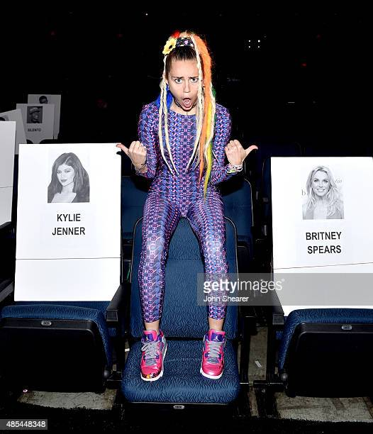 Host Miley Cyrus poses during rehearsals for the 2015 MTV Video Music Awards at Microsoft Theater on August 27 2015 in Los Angeles California