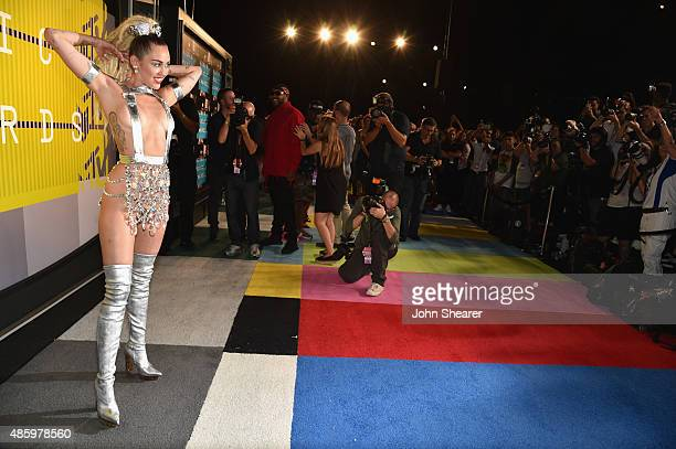 Host Miley Cyrus styled by Simone Harouche attends the 2015 MTV Video Music Awards at Microsoft Theater on August 30 2015 in Los Angeles California