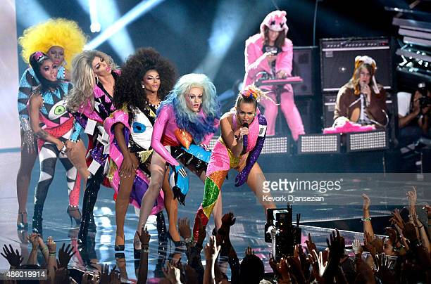 Host Miley Cyrus styled by Simone Harouche perform onstage during the 2015 MTV Video Music Awards at Microsoft Theater on August 30 2015 in Los...