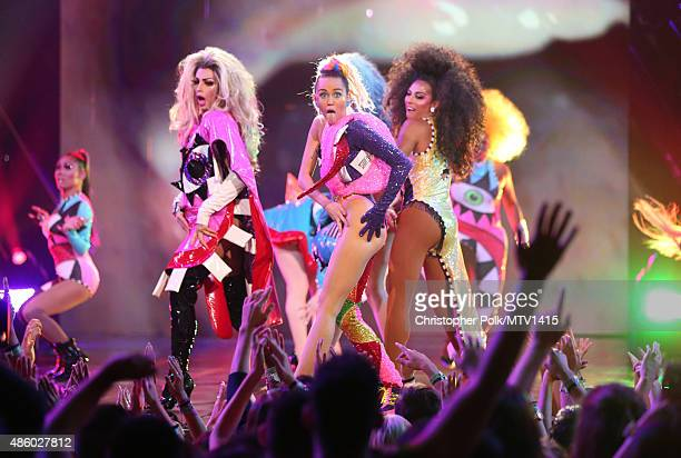 Host Miley Cyrus styled by Simone Harouche performs onstage during the 2015 MTV Video Music Awards at Microsoft Theater on August 30 2015 in Los...