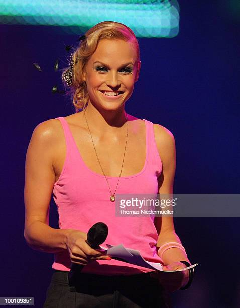 Host Mirjam Weichselbraun performs at 'The Dome 54' at the HannsMartin Schleyer Halle on May 20 2010 in Stuttgart Germany