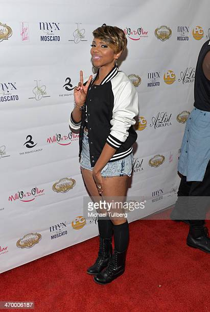 Host Miss Mykie attends the season premiere party of the reality show 'Basketball Wives LA' at Allure Studios on February 17 2014 in Los Angeles...