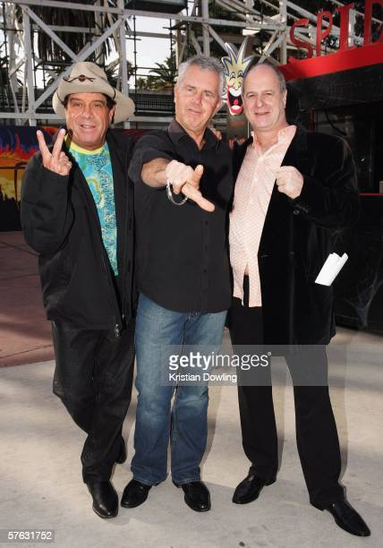 Host Molly Meldrum singer Daryl Braithwaite and promoter Michael Gudinski attend the launch for 'The Countdown Spectacular' at Luna Park May 17 2006...
