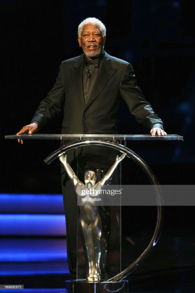 Host <a gi-track='captionPersonalityLinkClicked' href=/galleries/search?phrase=Morgan+Freeman&family=editorial&specificpeople=169833 ng-click='$event.stopPropagation()'>Morgan Freeman</a> during the awards show for the 2013 Laureus World Sports Awards at the Theatro Municipal Do Rio de Janeiro on March 11, 2013 in Rio de Janeiro, Brazil.
