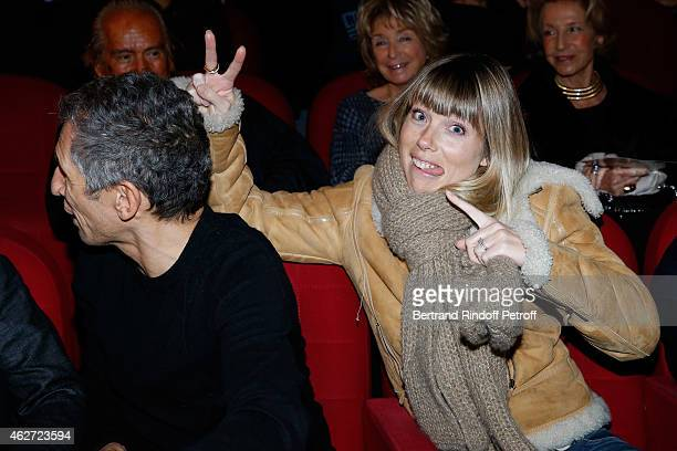 Host Nagui with his wife actress Melanie Page attend the Private Screening of the Movie 'Tout Peut Arriver' at Mac Mahon Cinema on February 3 2015 in...