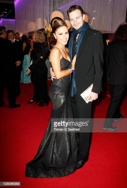 TV host Nazan Eckes and boyfriend Julian Khol attend the German TV Award 2010 at Coloneum on October 9 2010 in Cologne Germany