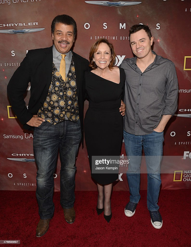 Host <a gi-track='captionPersonalityLinkClicked' href=/galleries/search?phrase=Neil+deGrasse+Tyson&family=editorial&specificpeople=657693 ng-click='$event.stopPropagation()'>Neil deGrasse Tyson</a>, Writer, Executive Producer and Director Ann Druyan and Executive Producer <a gi-track='captionPersonalityLinkClicked' href=/galleries/search?phrase=Seth+MacFarlane&family=editorial&specificpeople=549856 ng-click='$event.stopPropagation()'>Seth MacFarlane</a> attend the premiere of Fox's 'Cosmos: A SpaceTime Odyssey' at The Greek Theatre on March 4, 2014 in Los Angeles, California.