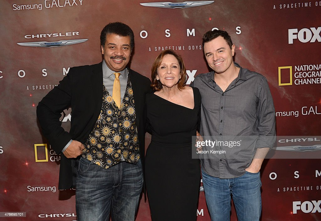 Host Neil deGrasse Tyson, Writer, Executive Producer and Director Ann Druyan and Executive Producer <a gi-track='captionPersonalityLinkClicked' href=/galleries/search?phrase=Seth+MacFarlane&family=editorial&specificpeople=549856 ng-click='$event.stopPropagation()'>Seth MacFarlane</a> attend the premiere of Fox's 'Cosmos: A SpaceTime Odyssey' at The Greek Theatre on March 4, 2014 in Los Angeles, California.