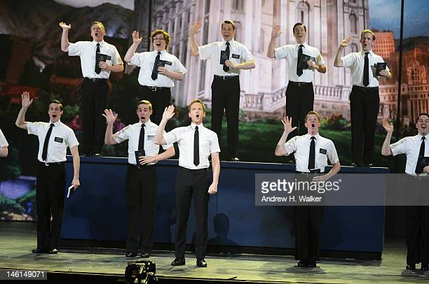 Host Neil Patrick Harris and the cast of 'The Book of Mormon' perform onstage at the 66th Annual Tony Awards at The Beacon Theatre on June 10 2012 in...
