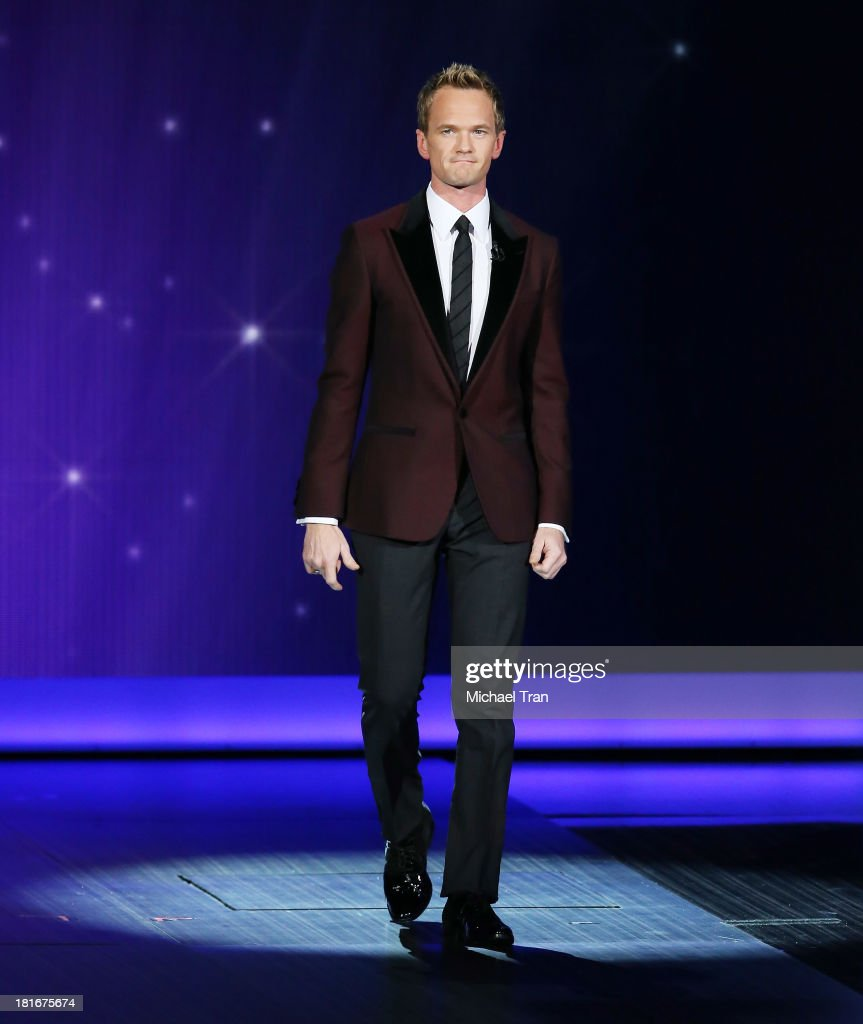 Host <a gi-track='captionPersonalityLinkClicked' href=/galleries/search?phrase=Neil+Patrick+Harris&family=editorial&specificpeople=210509 ng-click='$event.stopPropagation()'>Neil Patrick Harris</a> speaks onstage during the 65th Annual Primetime Emmy Awards held at Nokia Theatre L.A. Live on September 22, 2013 in Los Angeles, California.