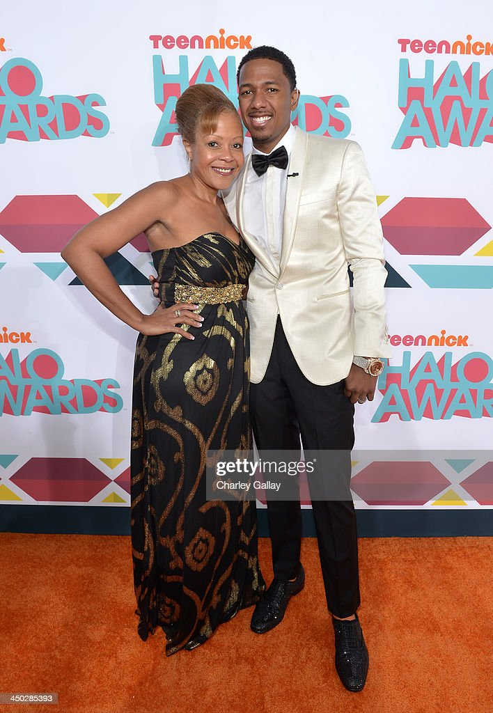 Host <a gi-track='captionPersonalityLinkClicked' href=/galleries/search?phrase=Nick+Cannon&family=editorial&specificpeople=202208 ng-click='$event.stopPropagation()'>Nick Cannon</a> (R) and mother Beth Gardner arrive at the 5th Annual TeenNick HALO Awards at Hollywood Palladium on November 17, 2013 in Hollywood, California.