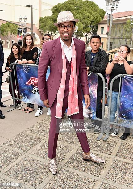 TV host Nick Cannon attends NBC's 'America's Got Talent' Season 11 Kickoff at Pasadena Civic Auditorium on March 3 2016 in Pasadena California