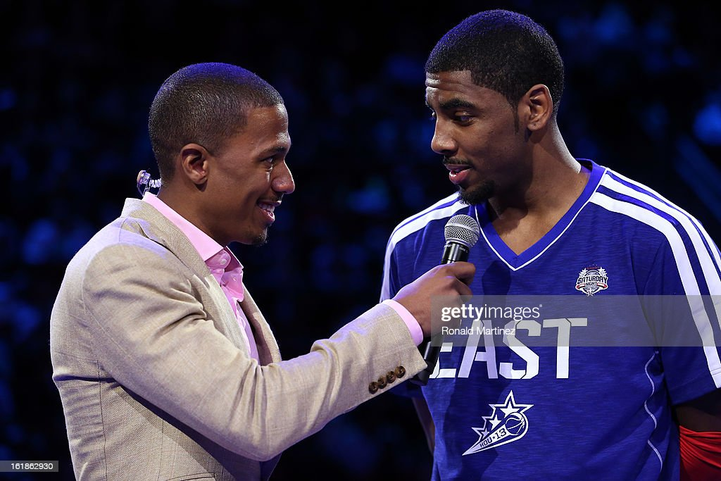 Host Nick Cannon interviews Kyrie Irving of the Cleveland Cavaliers after winning the Foot Locker Three-Point Contest part of 2013 NBA All-Star Weekend at the Toyota Center on February 16, 2013 in Houston, Texas.