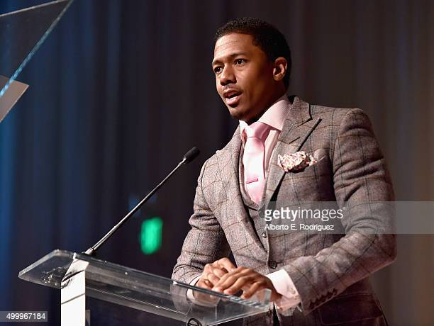 Host Nick Cannon speaks onstage during the March Of Dimes Celebration Of Babies Luncheon honoring Jessica Alba at the Beverly Wilshire Four Seasons...