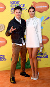 Host Nick Jonas and model Olivia Culpo attend Nickelodeon's 28th Annual Kids' Choice Awards held at The Forum on March 28 2015 in Inglewood California