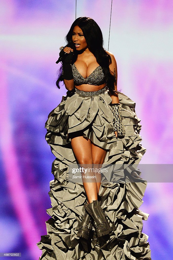 Host Nicki Minaj on stage during the MTV EMA's 2014 at The Hydro on November 9 2014 in Glasgow Scotland