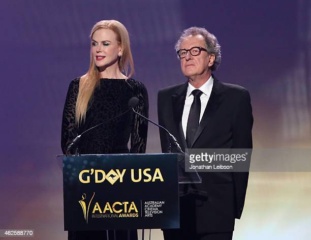 Host Nicole Kidman and AACTA president Geoffrey Rush speak onstage during the 2015 G'Day USA GALA featuring the AACTA International Awards presented...