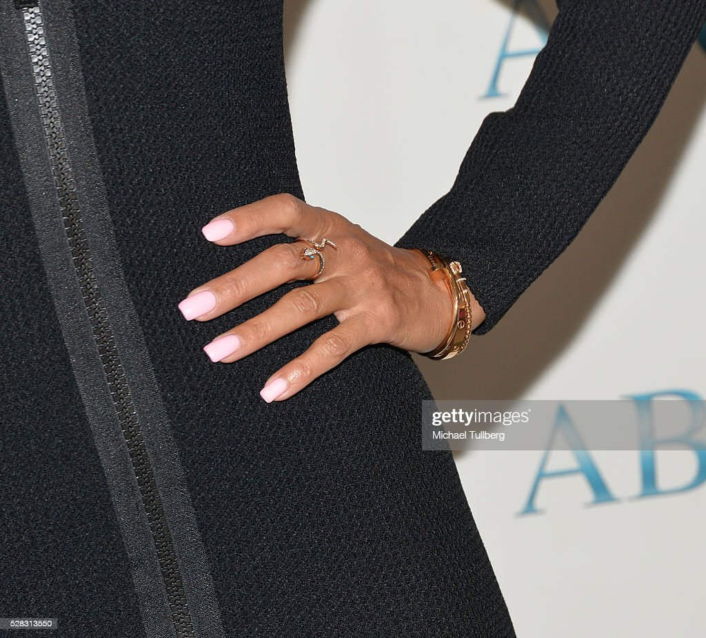 TV host Nicole Murphy, ring detail, attend the Associates For Breast and Prostate Cancer Studies' annual Mother's Day Luncheon at Four Seasons Hotel Los Angeles at Beverly Hills on May 4, 2016 in Los Angeles, California.